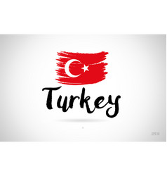 turkey country flag concept with grunge design vector image