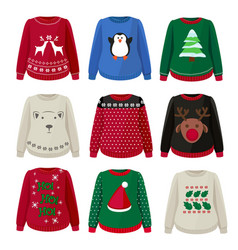 ugly sweaters funny christmas clothes jumper vector image