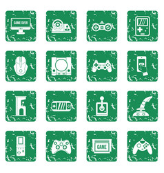 Video game icons set grunge vector