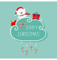 White baby bear giftbox snowflake ball Merry vector