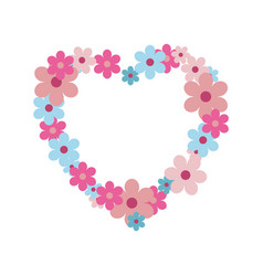 wild flowers in shape heart pastel colors vector image