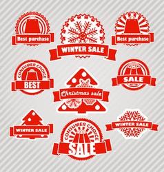 Winter discount labels set vector image