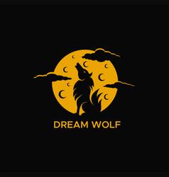 Wolf moon logo vector