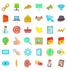 Work calendar icons set cartoon style vector
