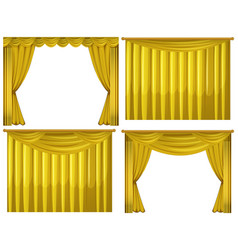 Yellow curtains in four styles vector