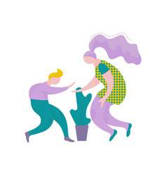 young man and woman giving high five to each other vector image