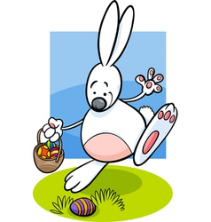 bunny and easter eggs cartoon vector image vector image
