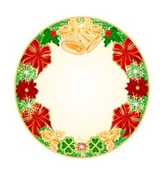 Button circular Christmas Spruce with bells vector image vector image