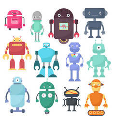 cute robots cyborg machine science vector image vector image