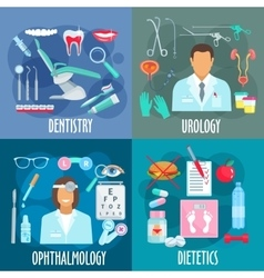 Dentistry urology ophthalmology dietetics icons vector image
