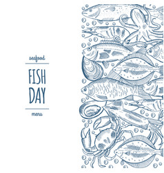 design a fish menu template for the restaurant vector image