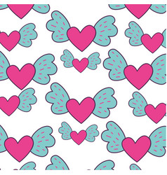 heart love with wings pattern vector image vector image