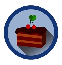modern flat icon with slice of chocolate cake vector image vector image