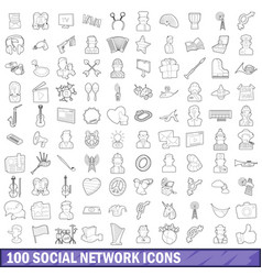 100 social network icons set outline style vector image vector image
