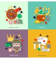 Gambling flat icons set vector image