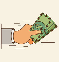 hands holding money bills flat style vector image vector image