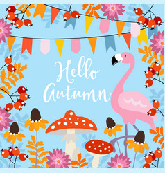 hello autumn greeting card with hand drawn leaves vector image vector image