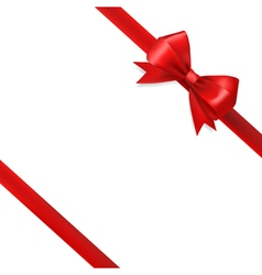 red silky bow ribbon vector image vector image