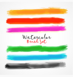 six watercolor brush stroke stain vector image vector image