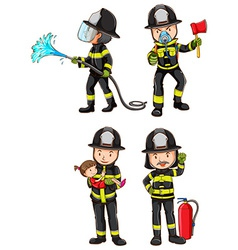 A simple sketch of firemen vector image vector image