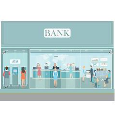 bank building exterior and interior counter desk vector image vector image