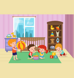 children playing with toys in playroom of vector image vector image