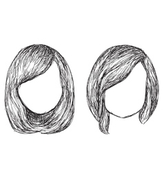 Hand drawn fashion hair styles sketch vector image vector image