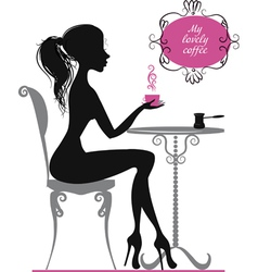 Silhouette of a girl with cup of coffee vector image