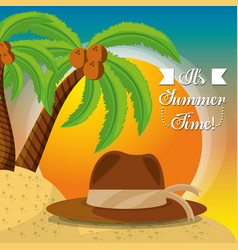 summer hat over sand with a beautiful sunny beach vector image