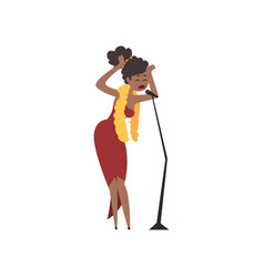 African american female jazz singer in red dress vector