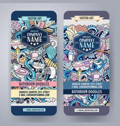 cartoon doodles bathroom vertical banners vector image vector image