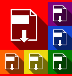file download sign set of icons with flat vector image