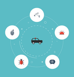 flat icons camera virus armored car and other vector image vector image