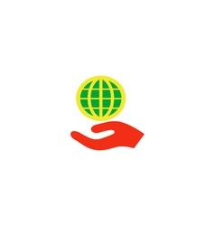 Globe palm Icon vector image