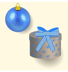 in blue colors Christmas gift vector image