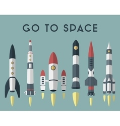 Rockets going to space flat design colored vector image vector image