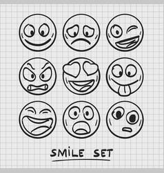 set of cartoon emoji sketch emoji vector image vector image