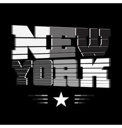 T shirt new york black white gray star vector
