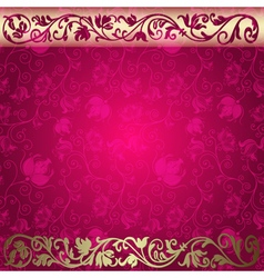 Vintage floral purple and gold frame vector image vector image