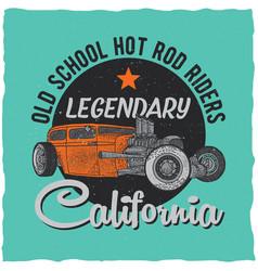 vintage hot rod t-shirt label design vector image vector image