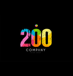 200 number grunge color rainbow numeral digit logo vector image