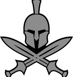 Ancient hellenic helmet and swords vector