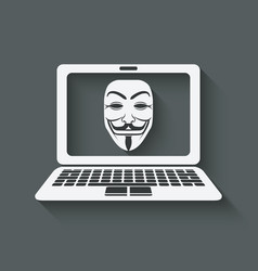 Anonymous mask on laptop screen vector