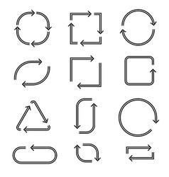 Arrows in circular motions double line style vector