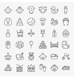 Baby Line Art Design Icons Big Set vector