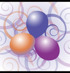 balloons with swirl background vector image