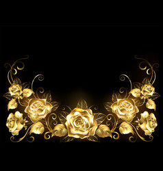 Black background with gold roses vector