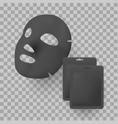 black facial mask and package bag mockups vector image