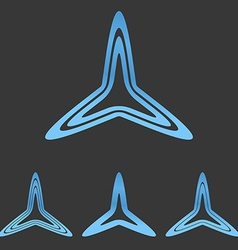 Blue line triangle logo design set vector image