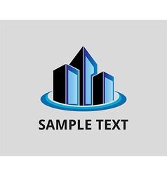 Blue office building tower logo for company vector